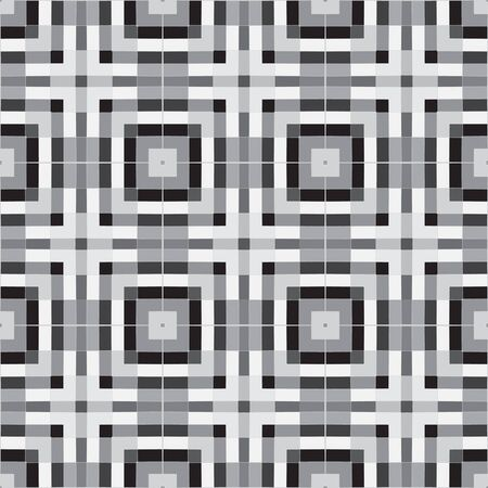 Vector pattern of intersecting and nested squares. A black and white grid layout. Abstract vector background for continuous replicate. Ilustração