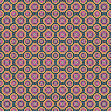 Colored squares, rhombuses and circles, abstract background. Vector seamless pattern. Vectores