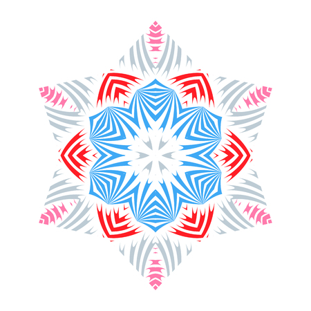 Ethnic mandala with colorful ornament. Indian colorful ornamentation design isolated on the white background. Ethnic tribal modern ornaments. Decorative design element. Hand drawn vector illustration.