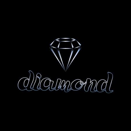 Calligraphic design elements and logo of   diamond on black background Illustration