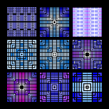 Set of 9 seamless patterns in blue. Geometrical drawing of lines and squares Çizim