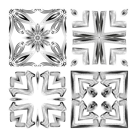 A set of 4 complex monochrome vector geometric patterns seamless backgrounds to help create inspiration. Ilustração