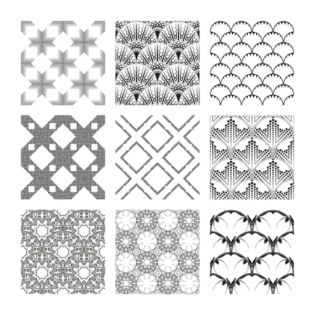 A set of complex monochrome  geometric patterns. Seamless backgrounds to help design inspiration. Abstract drawings of repeated square elements.