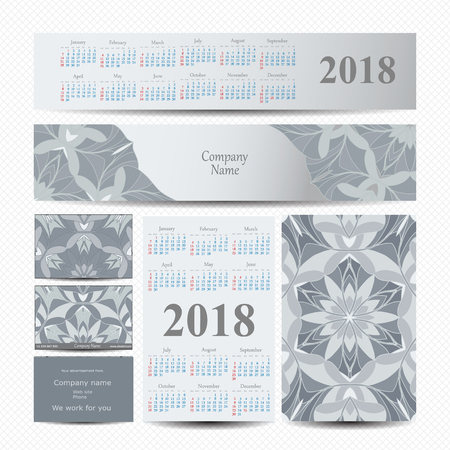 2018. Calendar template vector Illustration