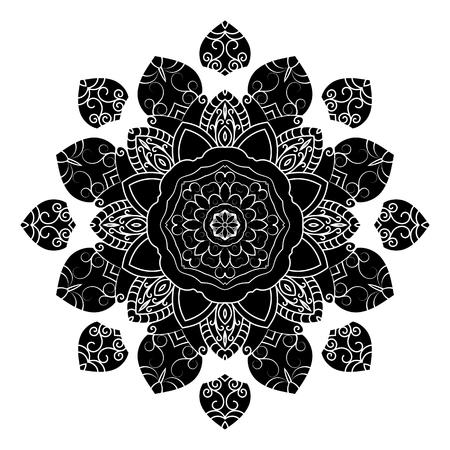 Mandala. Ethnic Amulet. Black and white decorative element, round ornamental geometric doily pattern.