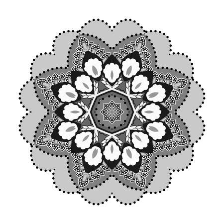 Vintage decorative elements. Outline flower mandala. Illustration