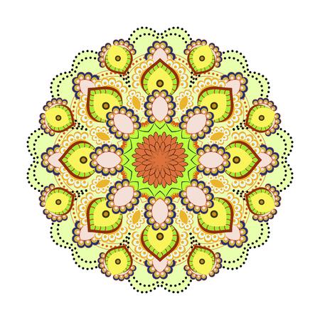 Mandala ornamentation design. Asian traditional mehandi style decor. Oriental pattern, vector illustration. Vintage decorative elements Illustration