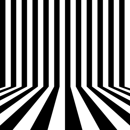 Black and white striped background of a room. Studio backdrop. Vector illustration Çizim