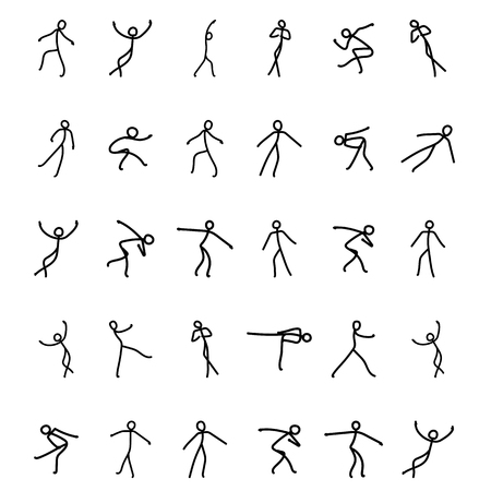 Sketch of figure skating, solo performance, arbitrary, mandatory program. Sportsman silhouette illustration set. Vector hand drawn sportsman isolated on white backdrop.