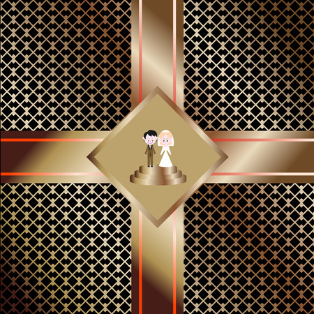 The bride and groom, wedding figures of the newlyweds. Abstract people, man and woman in the center of the holiday decoration of the invitation card with a strict geometric pattern on the background.