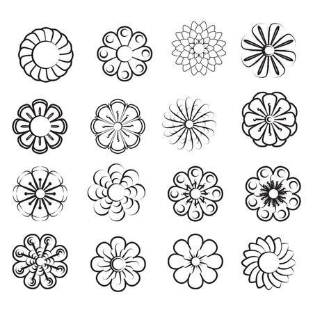 Monochrome floral icon set of 16 silhouette flowers Isolated on white background. Stylized summer or spring flowers, floral design elements. Vector illustration