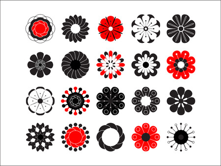 Flowering icon set. Stylized summer or spring flowers, floral design elements. Vector illustration in style of 70s. Cute 20 vector illustrations in flat style isolated on white background.