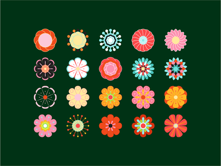 Blooming colored icon set. Stylized bright summer or spring flowers, floral design elements. Vector illustration in style of 70s Illustration