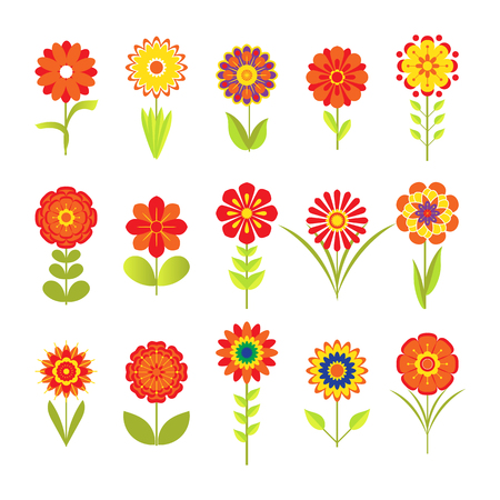 Various stylized flowers with different leaves in 70s style isolated on white. Vector illustration. Blooming colored icon set, floral design elements.
