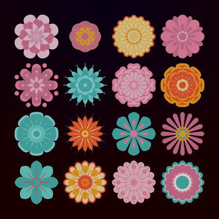 Abstract floral design elements. Vector flowers in pastel colors. Cute colored icons set of 16 elements on a black background. Illustration in the style of the 70s in flat style Illustration