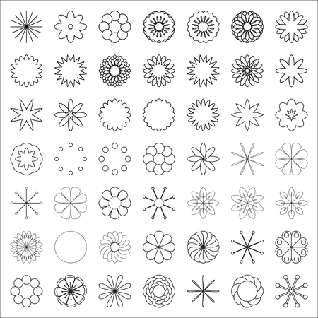 The constructor of flowers. A set of simple elements for creating colors. Monochrome floral icon set of 49 silhouette flowers Isolated on white background. Stylized summer or spring flowers, floral design elements. Vector illustration