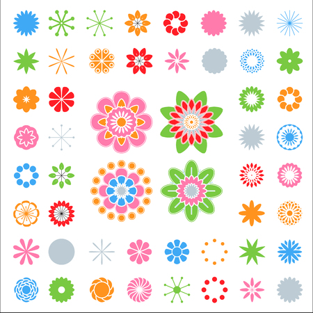 The designer of colors. Set of simple elements, floral icon set silhouette of flowers on a white background. Stylized summer or spring flowers, floral design elements. Vector illustration
