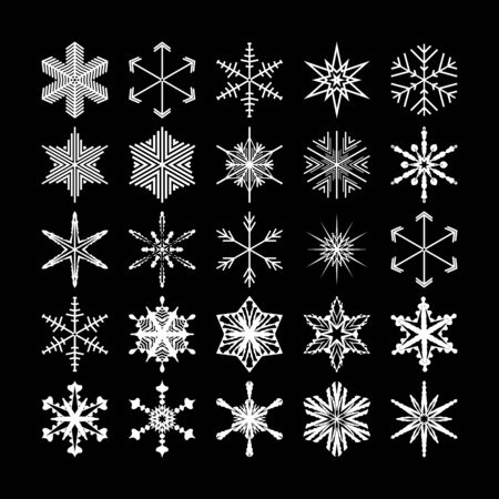 Winter desing of various white snowflakes on a black background