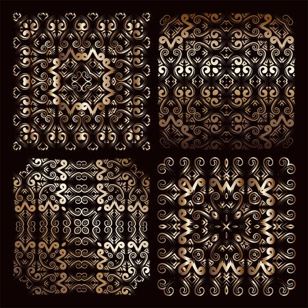 Set of four ornament elements on the black background. Circle and corner figures