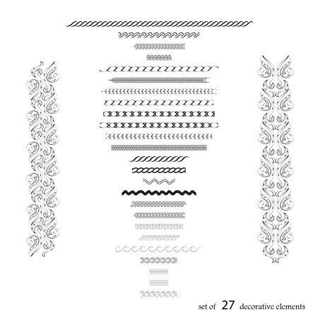 Hand drawn set of 27 ornate elements design. Vector illustration Illusztráció