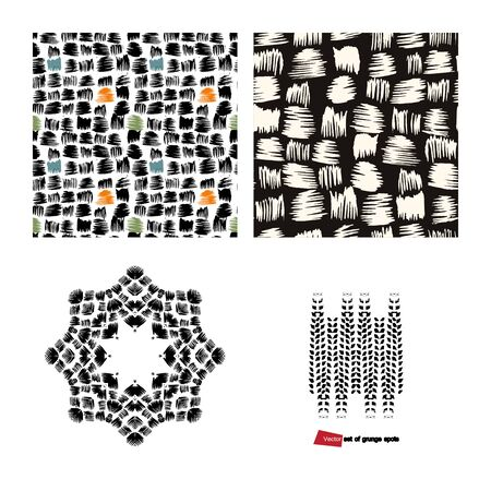 Black,orange and blue spots square, octagonal and linear grunge form Illusztráció
