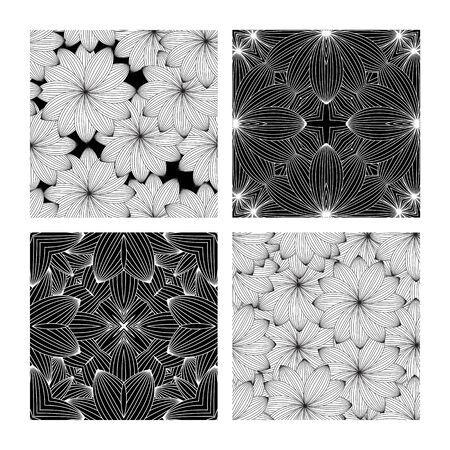 Four types of ornamental flowers.Vector illustration