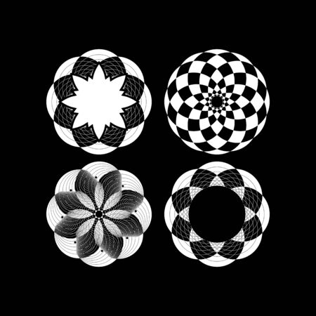 Minimalist texture with rounded shapes and repeated rhombuses. Black and white decorative image Illusztráció