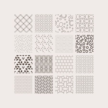 Set of grey patterned squares on a beige background. Light backround with geometric patterns for the decoration