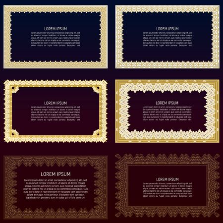 Ornamental frames with unreadable text template. Can be used for design of menu, invitations and other ways of submitting information
