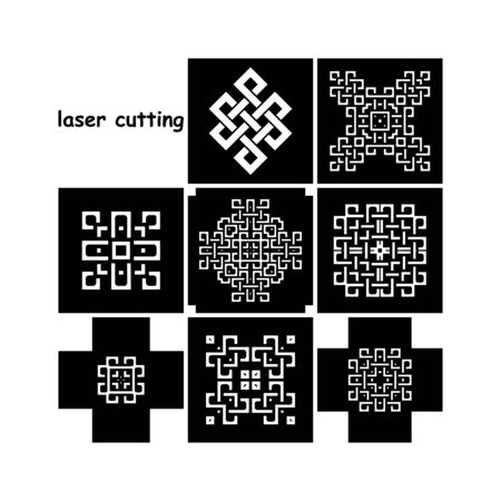 Laser Cutting set. Black and white figeres. Can be used as patterns for printing, engraving