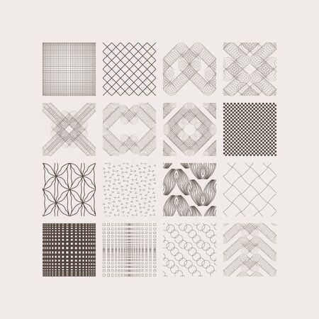 Set of seamless interlaced lines, circles, curves. Squares with different style of pattern for decoration