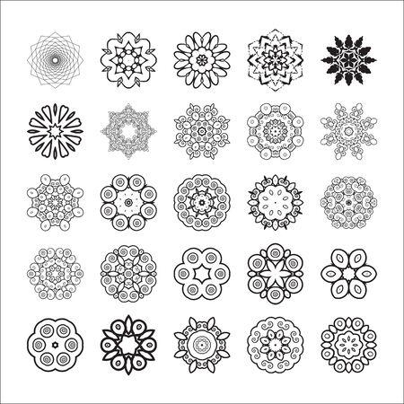 Set of floral elements for design.Vector illustration black and white Illusztráció