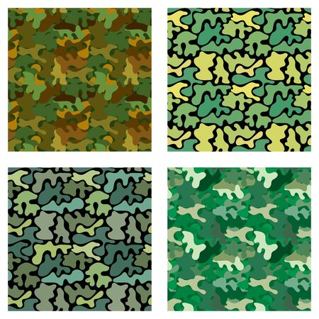 Vector pattern with four types of seemless camouflage pattern