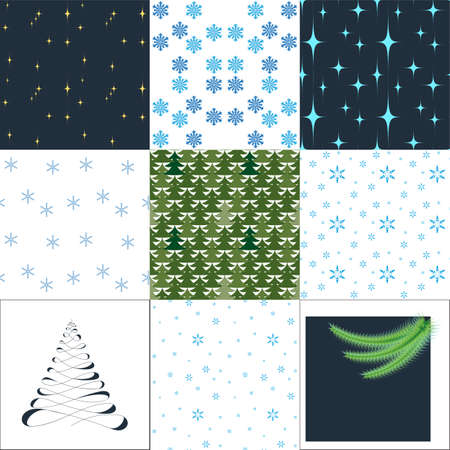 Set of winter festive seamless patterns.
