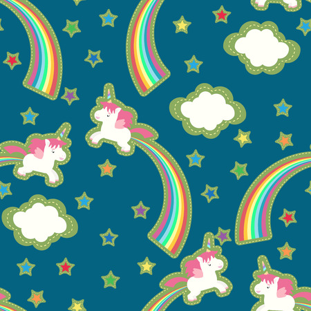 Vector seamless pattern with cute unicorn and rainbow in the skies.