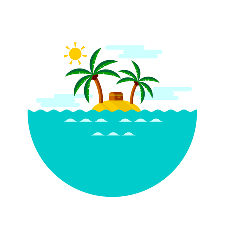 Vector illustration depicting chest with pirate treasures on the deserted island. Illustration
