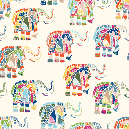 Vector seamless pattern with an abstract elephant. Illustration