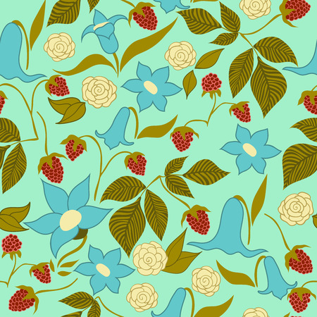 twigs: A seamless pattern with roses, bluebells and thickets of ripe raspberry.
