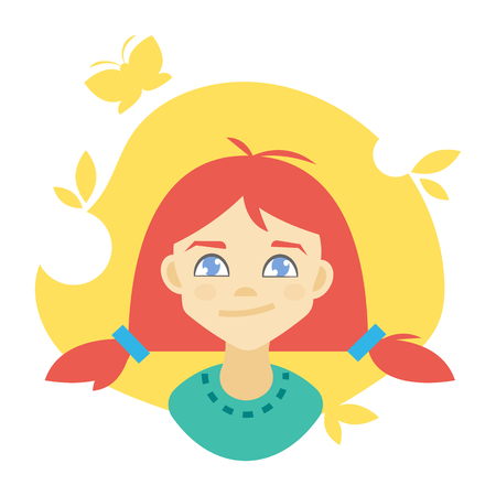 Illustration of a curious girl dreaming about summer. Vector clip art.