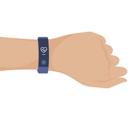 Illustration of hand with smart watches or band for sport activities. Vector clip art. 矢量图像