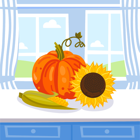 Vector illustration of collected vegetables and sunflower seeds. Harvest on the kitchen table.