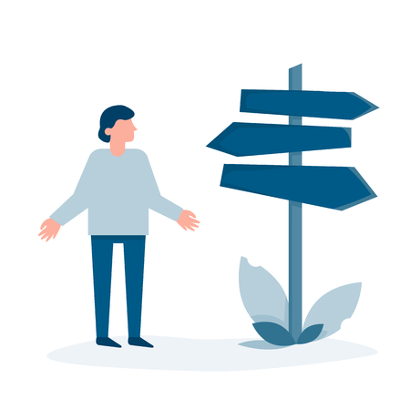 Person standing at the pointer and can't choose the direction. Conceptual vector illustration.