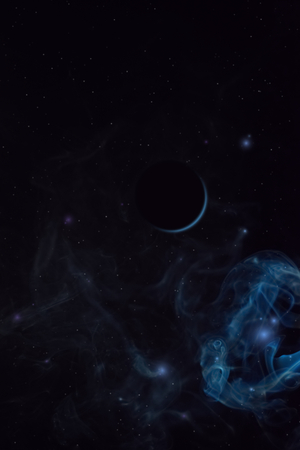 Distant planet eclipse inside the space nebula. Mixed media. Smoky background with stars. Far away moon.