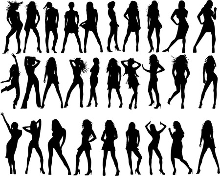 vector fashion women silhouette Illustration