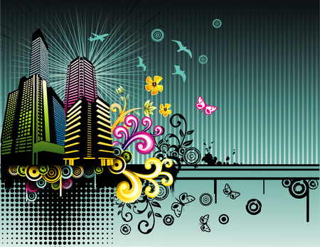 vector fantasy city illustration Vector