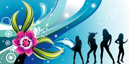 vector beauty women and flower illustration