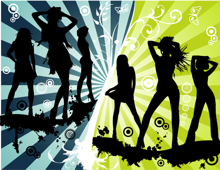 t�nzer silhouette: Vector floral, Modelle Frauen und Fashion Party illustration Illustration