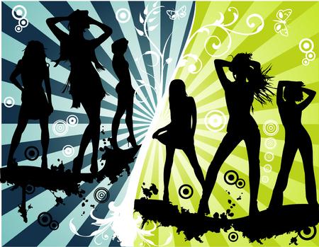 bailarines silueta: Vector floral, modelos de mujeres y de la moda Parte ilustraci�n