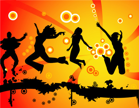 Young people having fun and being active Stock Vector - 3691444