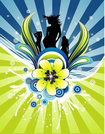 vector fantasy flower and beauty women illustration Vector